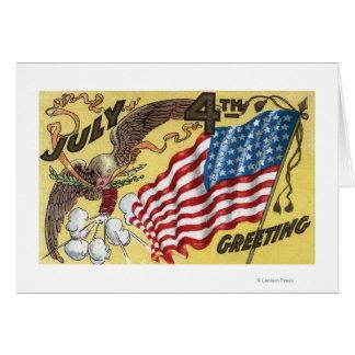 Eagle Emblem Holding Fireworks, Flag Greeting Card