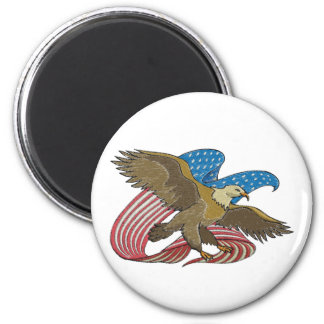 Eagle embroidered 6 cm round magnet