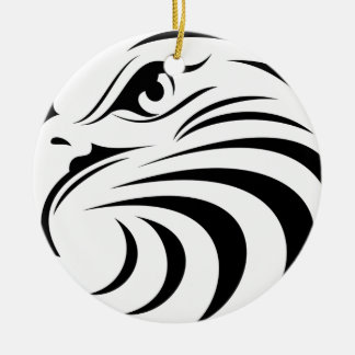 Eagle Face Silhouette Ceramic Ornament