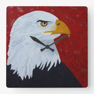 Eagle, Fire In The Sky Square Wall Clock