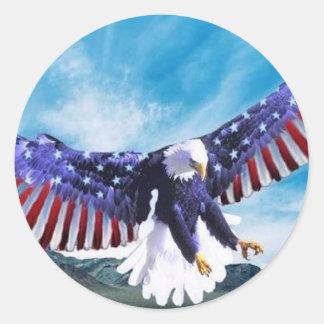 Eagle Flag Round Sticker