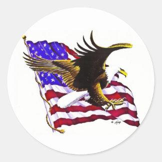 Eagle & Flag Round Sticker