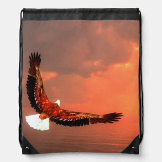 Eagle flying - 3D render Drawstring Bag
