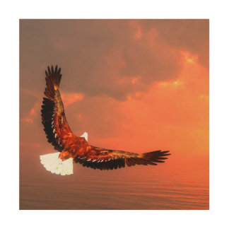 Eagle flying - 3D render Wood Wall Decor