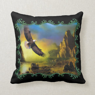Eagle flying over a river valley. cushion