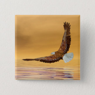Eagle flying to the sun - 3D render 15 Cm Square Badge