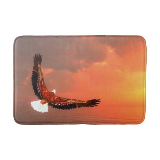 Eagle flying to the sun - 3D render Bath Mat