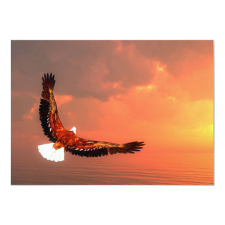 Eagle flying to the sun - 3D render Card