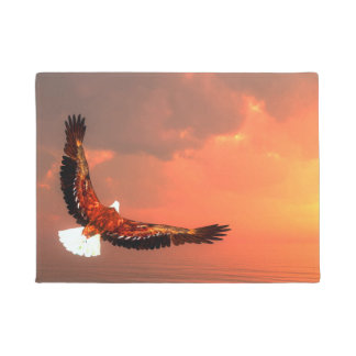 Eagle flying to the sun - 3D render Doormat