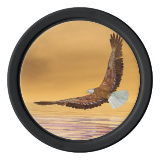 Eagle flying to the sun - 3D render Poker Chips Set