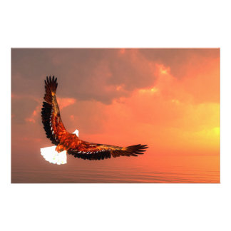 Eagle flying to the sun - 3D render Stationery