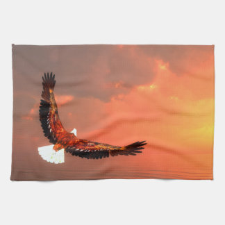 Eagle flying to the sun - 3D render Tea Towel