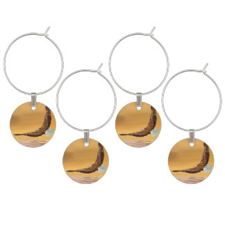 Eagle flying to the sun - 3D render Wine Glass Charms