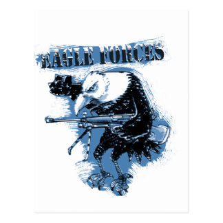 eagle forces blue with text postcard