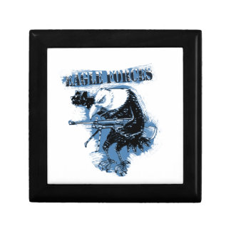 eagle forces blue with text small square gift box