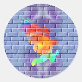 Eagle graffiti on brick wall round sticker