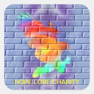 Eagle graffiti on brick wall square sticker