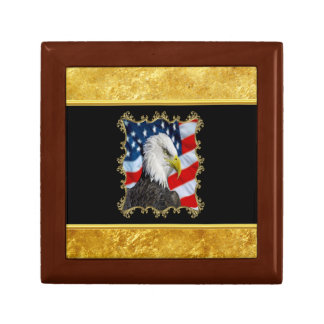 Eagle head  and a American flag gold foil design Gift Box
