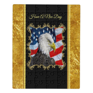 Eagle head  and a American flag gold foil design Jigsaw Puzzle