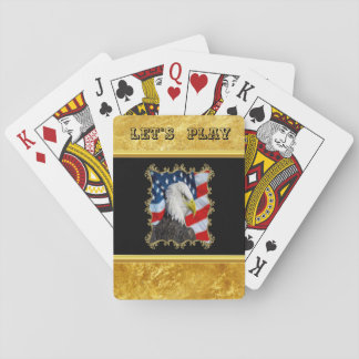 Eagle head  and a American flag gold foil design Playing Cards