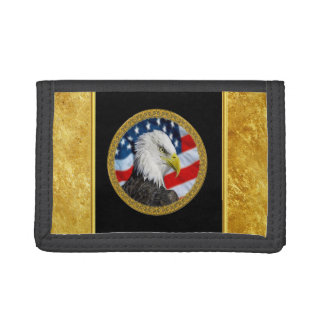 Eagle head  and a American flag gold foil design Tri-fold Wallet