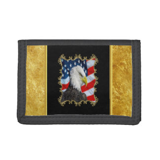 Eagle head  and a American flag gold foil design Trifold Wallet