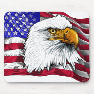 Eagle Head with Flag Mouse Pad