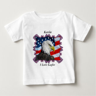 Eagle in front of a American flag Baby T-Shirt