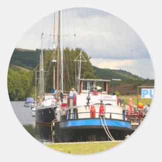 Eagle Inn pub barge, Scotland 2 Classic Round Sticker
