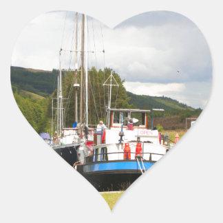Eagle Inn pub barge, Scotland 2 Heart Sticker
