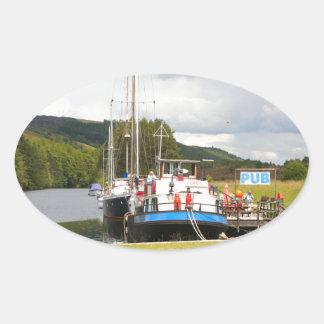 Eagle Inn pub barge, Scotland 2 Oval Sticker