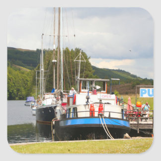 Eagle Inn pub barge, Scotland 2 Square Sticker