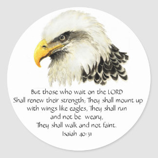Eagle - Inspirational - Scripture - They that wait Round Sticker