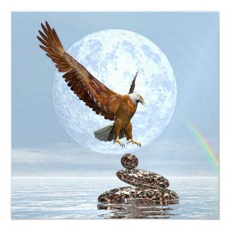 Eagle landing on balanced stones - 3D render Card