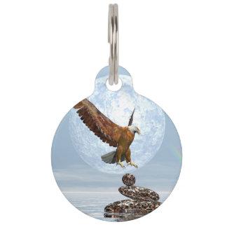 Eagle landing on balanced stones - 3D render Pet Tag