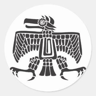 Eagle, Mexican hieroglyph(Maya) Classic Round Sticker