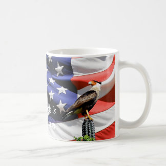 Eagle on a cactus in front of the U.S.A. flag Coffee Mug