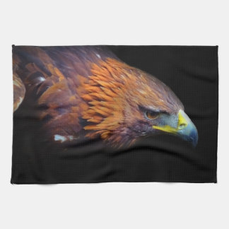 Eagle on Black Background Tea Towel