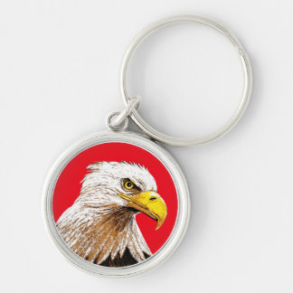 Eagle on Red Key Ring