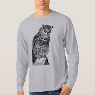 Eagle Owl Vintage Wood Engraving Tshirt