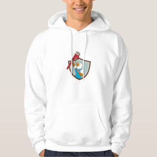 Eagle Plumber Raising Up Pipe Wrench Crest Cartoon Hoodie