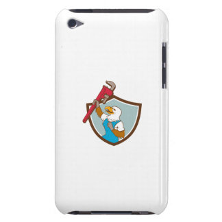Eagle Plumber Raising Up Pipe Wrench Crest Cartoon iPod Case-Mate Cases