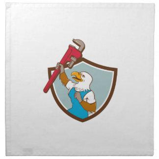 Eagle Plumber Raising Up Pipe Wrench Crest Cartoon Napkin