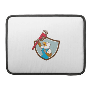 Eagle Plumber Raising Up Pipe Wrench Crest Cartoon Sleeve For MacBook Pro