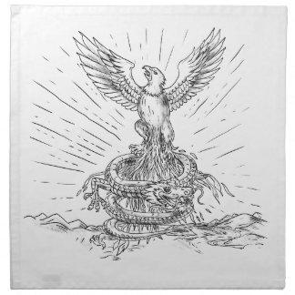 Eagle Rising Like Phoenix and Dragon Tattoo Napkin