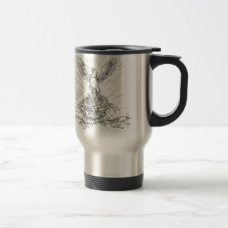 Eagle Rising Like Phoenix and Dragon Tattoo Travel Mug