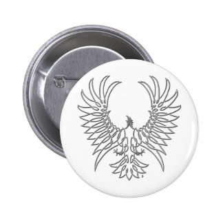 eagle rising, silver 6 cm round badge