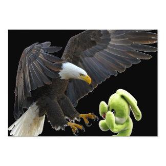 Eagle scares to a teddy card