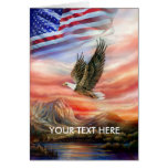Eagle Scouts the Horizon as U.S. Flag Waves Greeting Card