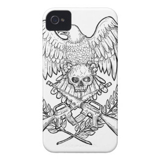 Eagle Skull Assault Rifle Drawing iPhone 4 Case